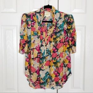 Anthropologie   Maeve bright floral watercolor top